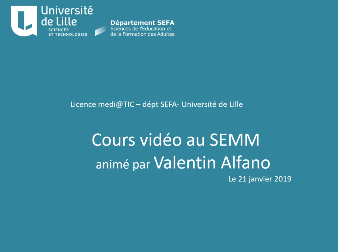 Mediatic atelier Video au SEMM
